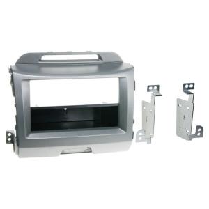Rámeček autorádia - KIA Sportage III (2010->) stříbrný 1-DIN / 2-DIN